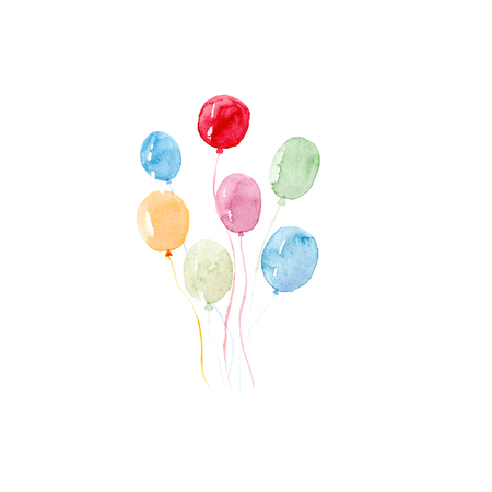 Watercolor colorful holiday sketch balloons set closeup isolated on white background Stock Photo