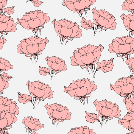 Seamless pattern with pink roses on grey background. Vector illustration