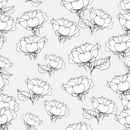 Seamless pattern with roses on grey background. Vector illustration Ilustração