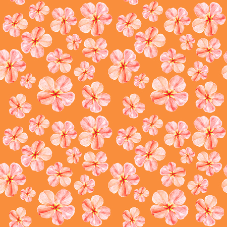 Handpainted watercolor seamless pattern with pink mallow flowers Abutilon on orange background 스톡 콘텐츠