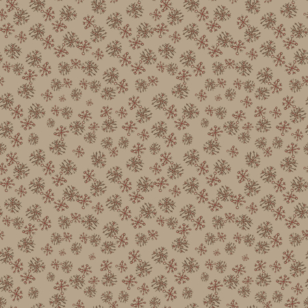 Seamless pattern with hand drawn doodle watercolor red snowflakes. Winter and Christmas pattern on beige background
