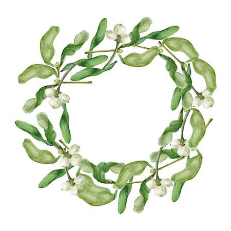 Christmas wreath with Mistletoe. Round border. Watercolor illustration on white background