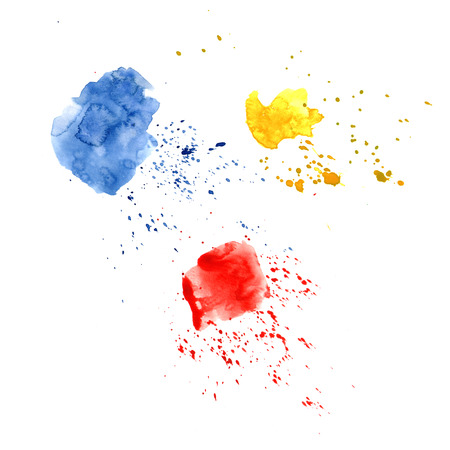 Abstract watercolor spot with droplets, smudges, stains, splashes. Three bright red yellow and blue color blot in grunge style. To design and decor backgrounds, banners, flyers