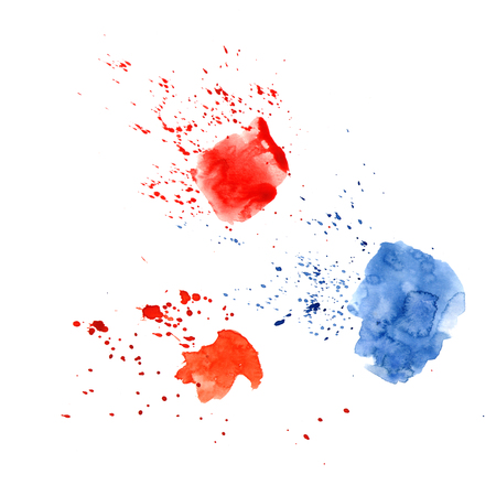 Abstract watercolor spot with droplets, smudges, stains, splashes. Three bright red and blue color blot in grunge style. To design and decor backgrounds, banners, flyers