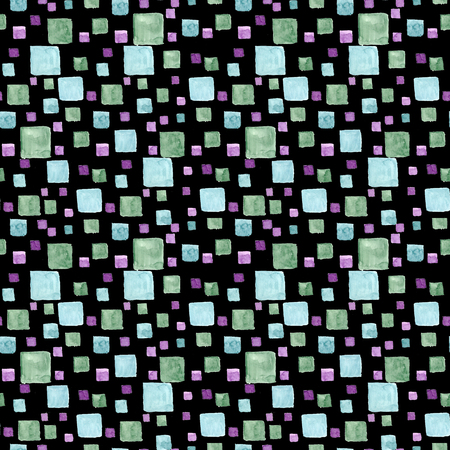 Seamless pattern watercolor with bright rectangles and squares. Green and blue trendy colors. Hand draw texture on black