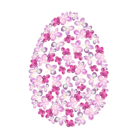 Watercolor pink syringa Easter egg design. May be used for Easter textile decoration print, invitation card, spring decor, wrapping paper and window decoration