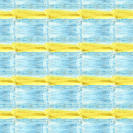 Real watercolor texture. Blue and yellow squares. Background painted on watercolor paper Imagens