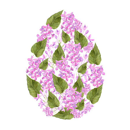 Watercolor Lilac pink flowers and petals and green leaf of syringa Easter egg design. For Easter textile decoration print, invitation card, spring decor, wrapping paper and window decoration Imagens