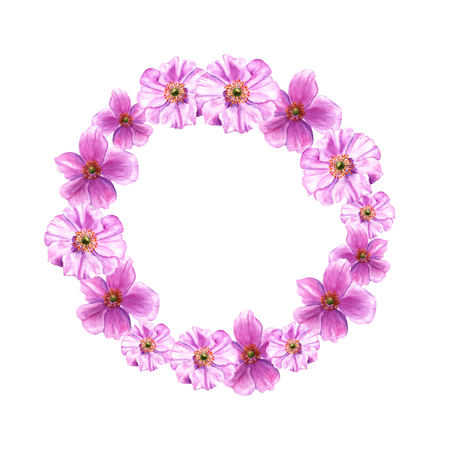 Easter wreath with anemone flowers. Round border. Watercolor illustration on white background
