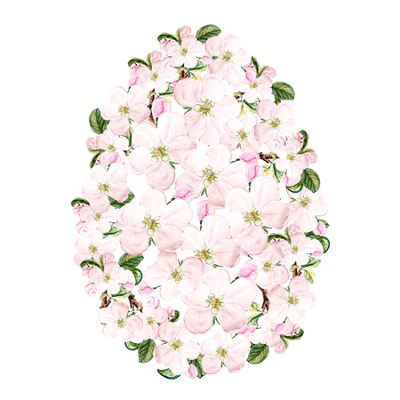 Watercolor Apple blossom branch with flowers and leaves Easter egg design. May be used for Easter textile decoration print, invitation card, spring decor, wrapping paper and window decoration