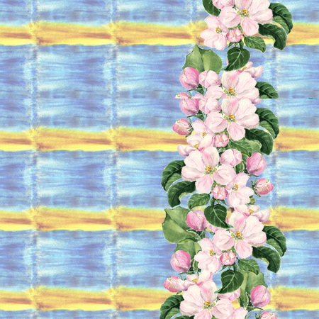 Apple pink flowers. Seamless floral border. Botanical watercolour painted edging on colorful background Imagens