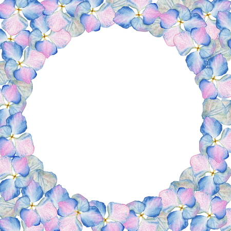 Watercolor inflorescence Hydrangea circle design with place for text. May be used for textile decoration print, invitation card, spring decor, wrapping paper and window decoration Imagens
