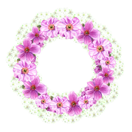 Easter wreath with anemone flowers and buds. Round border. Watercolor illustration on white background Imagens
