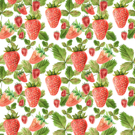 Watercolor seamless pattern with illustration of strawberry leaves and berries on white background