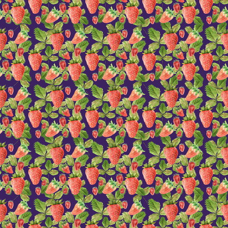 Watercolor seamless pattern with illustration of strawberry leaves and berries on violet background