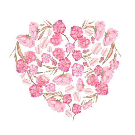 Set of Watercolor illustration of pink Apple and Cherry flowers formed in heart