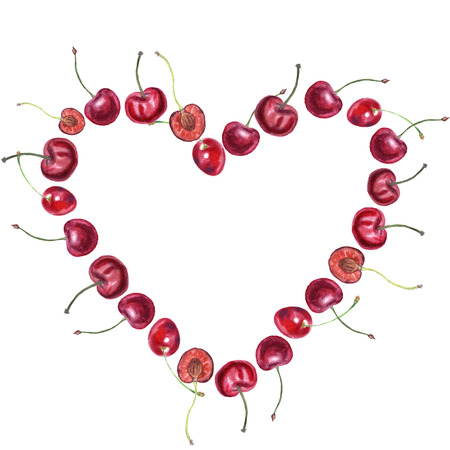 Fruit heart. Ripe cherries painted with watercolor on white. Botany illustration