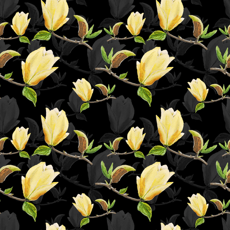 Watercolor seamless pattern with illustration of yellow magnolia branch on black background