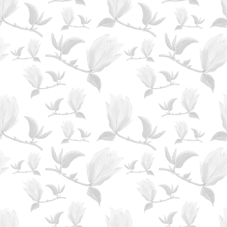 Watercolor seamless pattern with illustration of yellow magnolia branch on white background