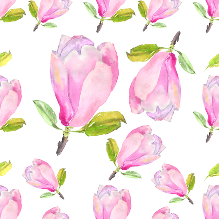 Watercolor seamless pattern with illustration of tender pink magnolia flower on white background