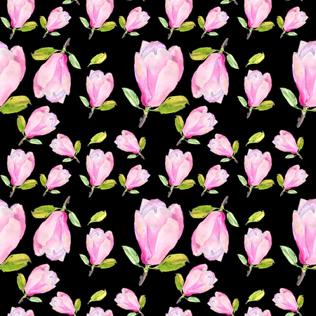 Watercolor seamless pattern with illustration of tender pink magnolia flower on black background