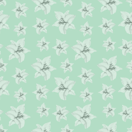 Watercolor seamless pattern with illustration of black and white lily flower on green background