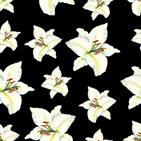 Watercolor seamless pattern with illustration of white lily flower on black background