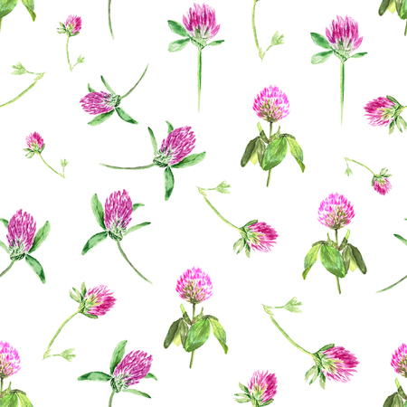Watercolor clover isolated on white. Gentle seamless pattern with blooming pink clover. Cute botanical wallpaper in Provence style