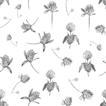 Watercolor clover isolated on white in black and white. Gentle seamless pattern with blooming pink clover. Cute botanical wallpaper in Provence style