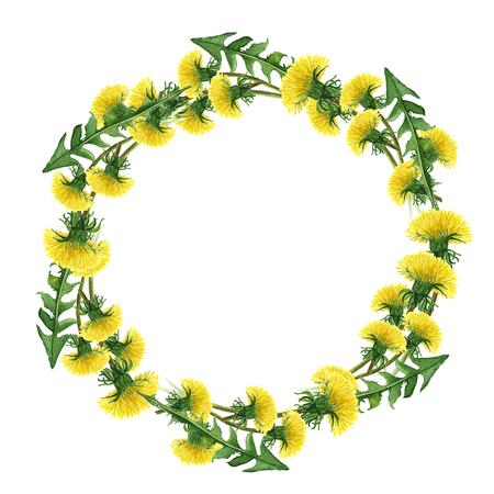 Flower circle. Set of watercolor dandelions. Illustration on white