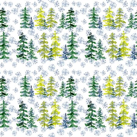 Seamless pattern with watercolor conifer trees and blue snowflakes. To design and decor backgrounds, banners, flyers Zdjęcie Seryjne
