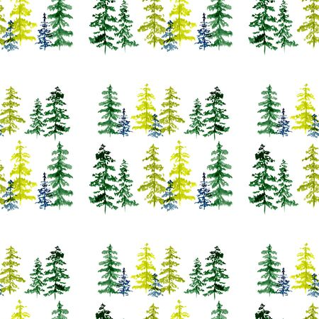 Seamless pattern with watercolor conifer trees. To design and decor backgrounds, banners, flyers