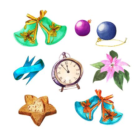 Set of Christmas things. Balls, bells, clock, cookies, ribbon and Poinsettia. Watercolor Xmas decoration
