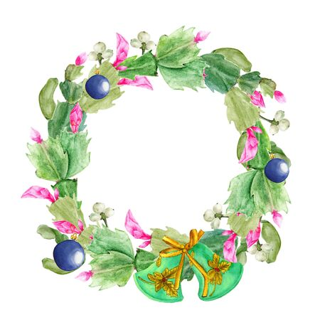 Christmas wreath with Zigokaktus Schlumbergera and mistletoe. Hand-drawn watercolor botanical illustration