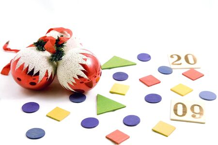 pices: decorative balls and coloured pices and wooden pieces with numbers drawn, isolated on white