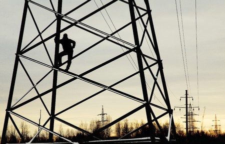 climbed: man climbed metal constructions