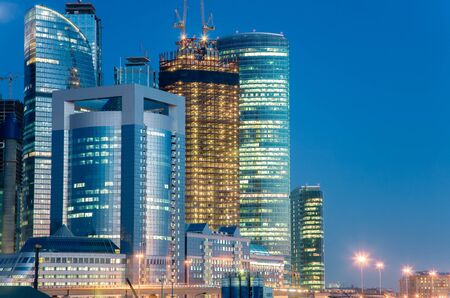 Russia, Moscow, view at business center skyscrapes Moscow City at night Banque d'images - 142088718