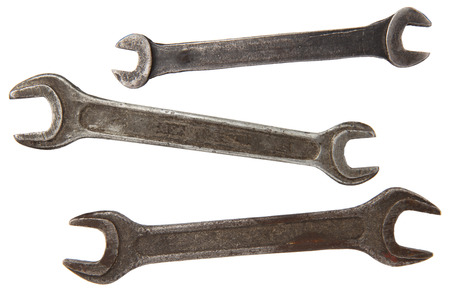 old dirty rusty vintage wrench tools isolated on white background Stock Photo