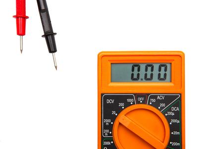 orange color electric Multimeter device on white desk Banque d'images