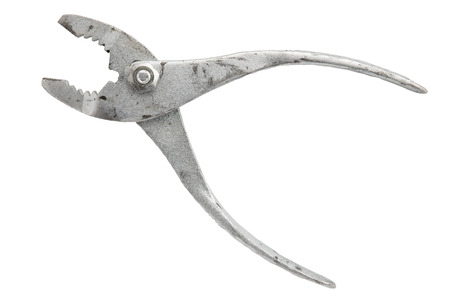 opened Old rusty dirty vintage pliers isolated on white background side view Banque d'images
