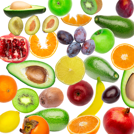 Creative flat layout pattern collage of fruit, top view. avocado, orange, lemon, plum, banana, pomegranate, apple isolated on white background. Food wallpaper, composition pattern of fresh fruits.