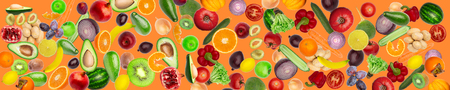 wide panoramic creative collage Pattern of vegetables and fruits. plums and peppers, cucumbers, radish, tomatoes, apples, banana, lemon, orange, watermelon, pomegranate and avocado isolated on white Banque d'images