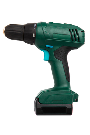 Cordless battery powered green drill with blue buttons isolated on white background Banque d'images