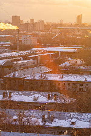Aerial view of the residential neighborhood in winter. Moscow region, Russia.