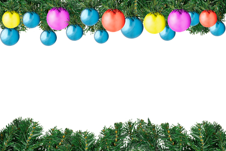 frame christmas fir tree with decoration color balls isolated on white background with copy space Banque d'images