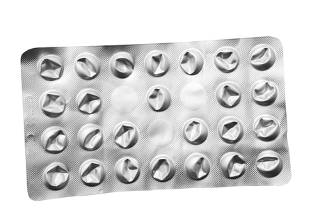 Used metal pack of pills isolated on white background Stock fotó