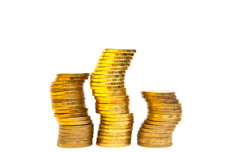 Gold coin stacks graph isolated on white