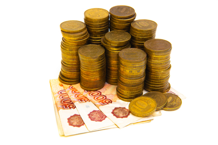 Gold coin stacks and russian ruble banknotes isolated on white Banque d'images