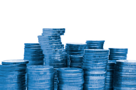 blue chips or coin stacks pile isolated on white