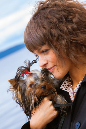 portrait of pretty young woman with long curly hair in black jacket holding tiny Yorkshire Terrier dog closeup on blue sky background Banque d'images